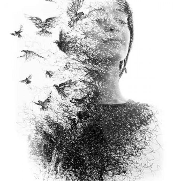 Dark retreat woman with Phoenix